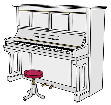 The white opened piano with a red and white chair