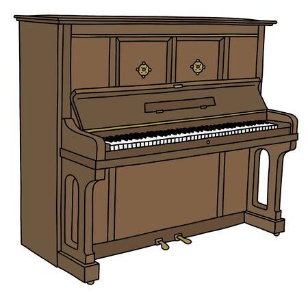 The retro brown opened piano