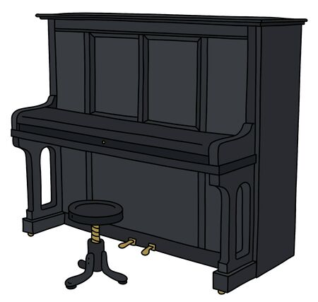 The black closed piano with a chair