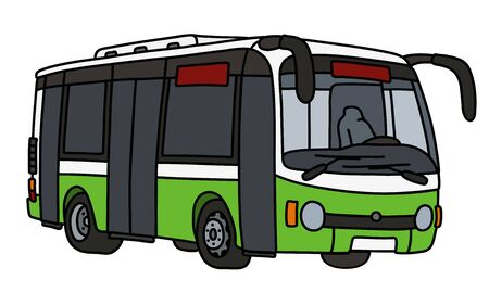 The light green and white city bus