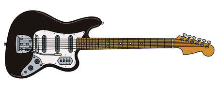 The vectorized hand drawing of a retro black electric guitar Vector Illustration