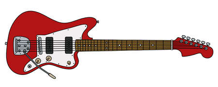The vectorized hand drawing of a retro red electric guitar