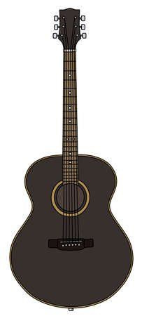 The vectorized hand drawing of a classic black accoustic guitar