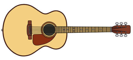 The vectorized hand drawing of a classic accoustic guitar