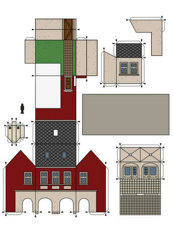 The vectorized hand drawing of an paper model of the old town burger house  イラスト・ベクター素材