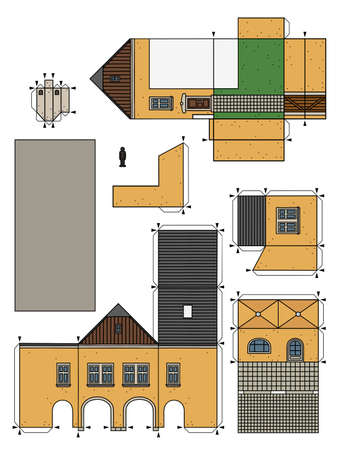 The vectorized hand drawing of an paper model of the old yellow  town burger house