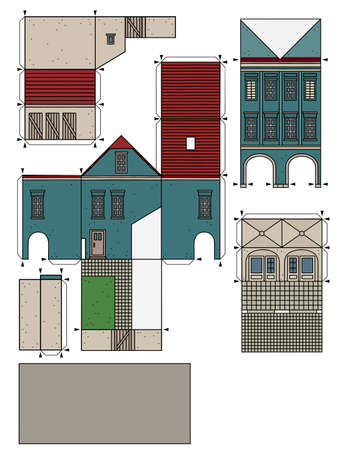 The vectorized hand drawing of an paper model of the old blue  town burger house 矢量图像