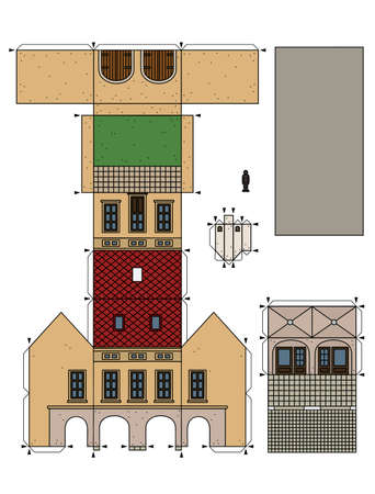 The vectorized hand drawing of an paper model of the old beige  town burger house 矢量图像