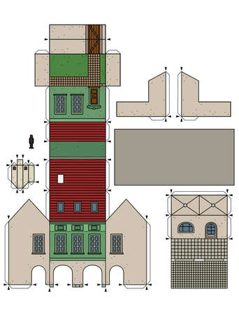 The vectorized hand drawing of an paper model of the old green town burger house 矢量图像