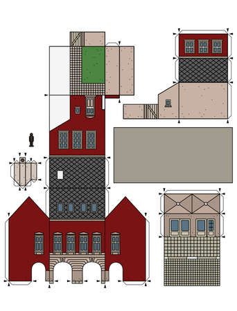 The vectorized hand drawing of an paper model of the old town burger house 矢量图像