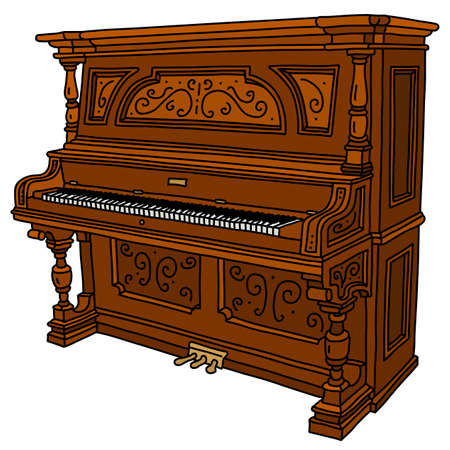 The vectorized hand drawing of a vintage wooden opened pianino