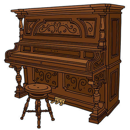 The vectorized hand drawing of a vintage wooden closed pianino with a chair
