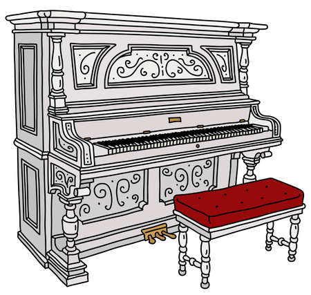 The vectorized hand drawing of a vintage white opened pianino with a red and white chair