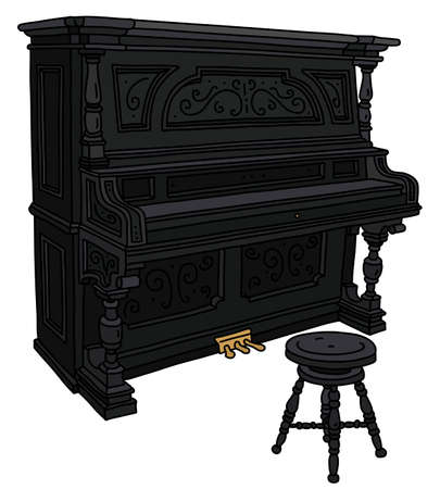 The vectorized hand drawing of a vintage black closed pianino with a chair