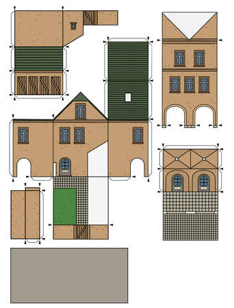 The vectorized hand drawing of an paper model of the old beige  town burger house Illustration