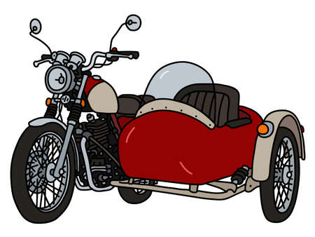 The vectorized hand drawing of a classic red and cream sidecar