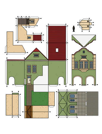 The vectorized hand drawing of an paper model of the old green town burger house Illustration