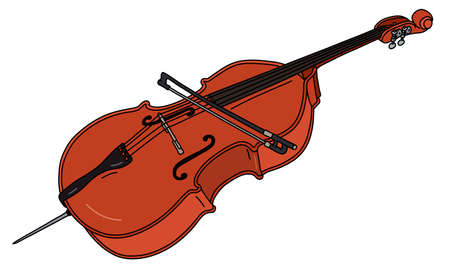 The vectorized hand drawing of a classic contrabass with a bow Illustration
