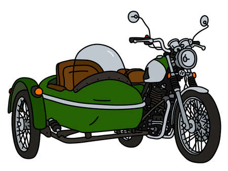 The vectorized hand drawing of a retro green sidecar