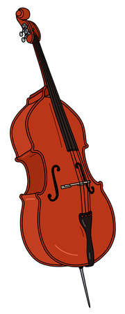 The vectorized hand drawing of a classic contrabass