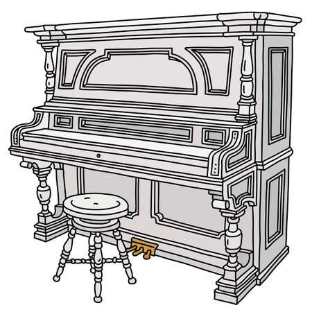 The vectorized hand drawing of a vintage white closed pianino with a chair