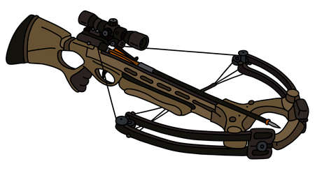 The vectorized hand drawing of a modern khaki sport crossbow