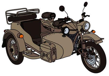 The vectorized hand drawing of a classic sand military sidecar