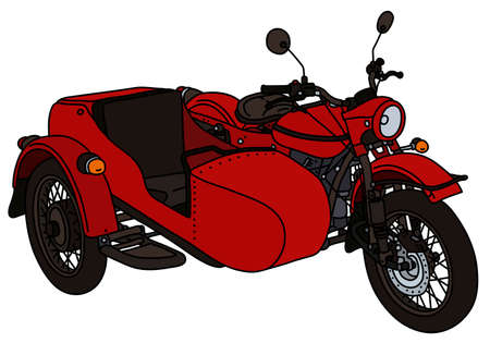 The vectorized hand drawing of a retro red sidecar