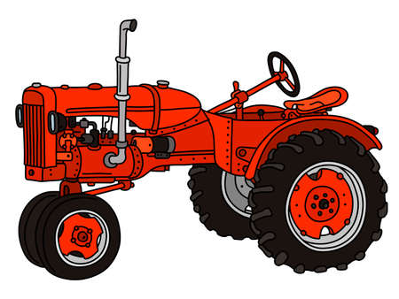 The vectorized hand drawing of a vintage red tractor Vecteurs