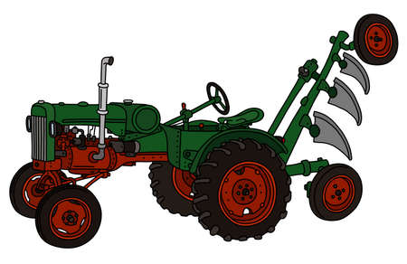 illustration green tractor with white background. Illustration