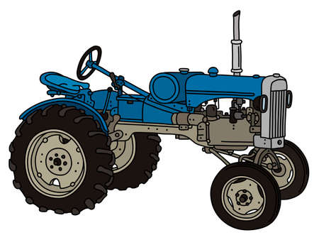 The vectorized hand drawing of a vintage blue tractor Illustration