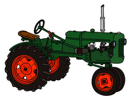 The vectorized hand drawing of a vintage green tractor