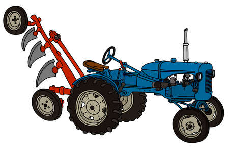 The vectorized hand drawing of a vintage blue tractor with a red plough