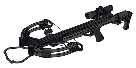 The vectorized hand drawing of a modern dark sport crossbow