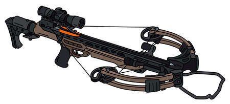 The vectorized hand drawing of a modern sand sport crossbow