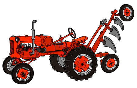 The vectorized hand drawing of a vintage red tractor with a plough Illustration