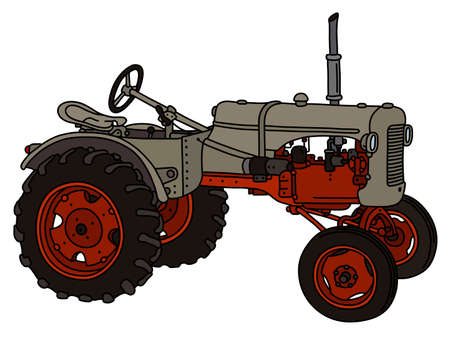 The vectorized hand drawing of a vintage sand tractor