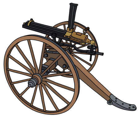 The vectorized hand drawing of an old Gatling multi barrel machine gun