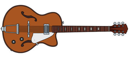 The vectorized hand drawing of a retro semiaccoustic guitar