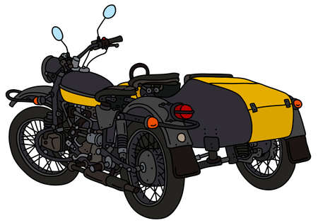The vectorized hand drawing of a retro yellow and black sidecar