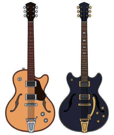 The vectorized hand drawing of two retro electric guitars