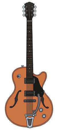 The vectorized hand drawing of a retro electric guitar