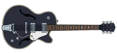 The vectorized hand drawing of a retro black electric guitar Illustration