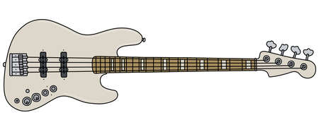The vectorized hand drawing of a white electric bass guitar