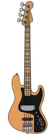 The vectorized hand drawing of a classic electric bass guitar Vecteurs