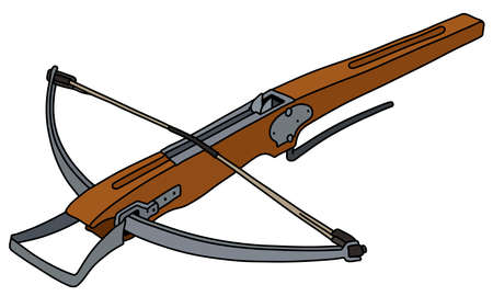 The vectorized hand drawing of a historical wooden crossbow Illustration