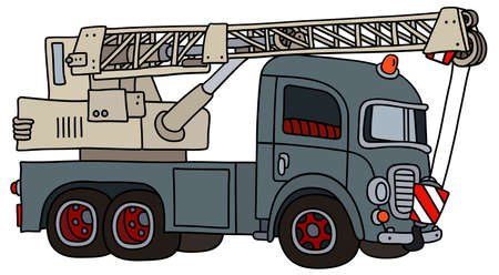 The vectorized hand drawing of a funny classic gray truck crane