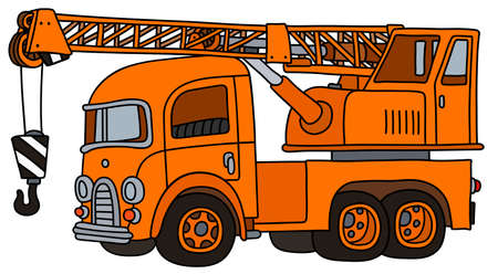 The vectorized hand drawing of a funny retro orange truck crane Illustration