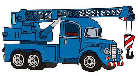 The vectorized hand drawing of a funny classic blue truck crane