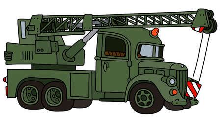The vectorized hand drawing of a funny classic military truck crane